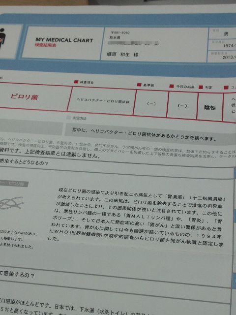 ピロリ菌検査結果1