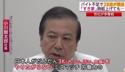 日本人が3Kの仕事をやりたがらない