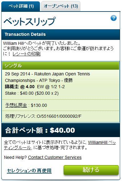 楽天オープンテニス2014錦織圭の優勝にベット