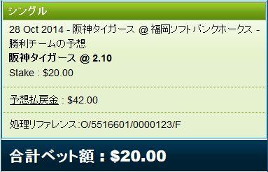 日本シリーズ2014第3戦阪神vsソフトバンクベット
