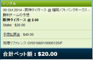 日本シリーズ2014第5戦阪神vsソフトバンクベット