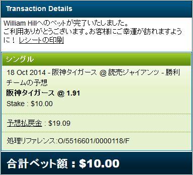 CS2014巨人対阪神第4戦ベット