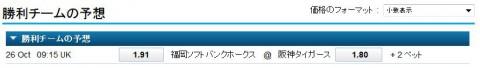日本シリーズ2014第2戦阪神vsソフトバンクオッズ