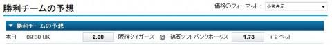 日本シリーズ2014第5戦阪神vsソフトバンクオッズ