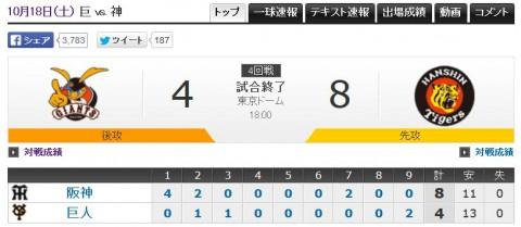 CS2014第4戦巨人vs阪神結果画像
