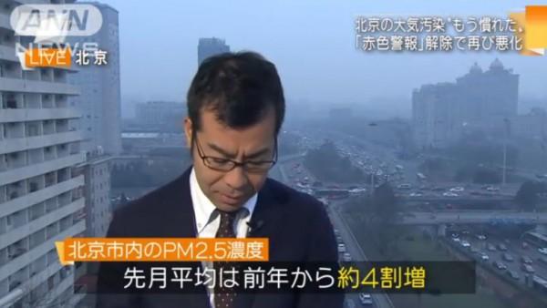 中国大気汚染4割増えてる