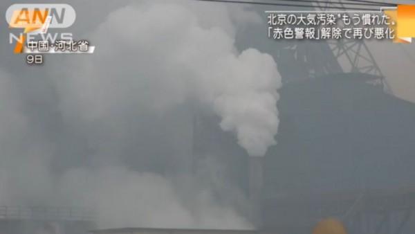 中国大気汚染工場から煙