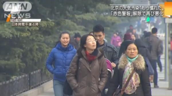 中国大気汚染マスクしてない