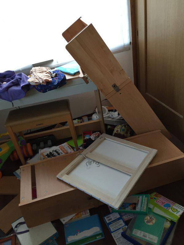 熊本地震被害画像15リビング